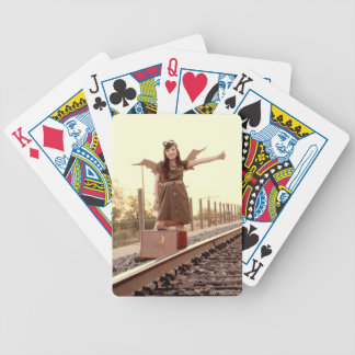 Hitchin' an Airship Bicycle Playing Cards