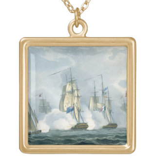 HMS Sirius, Captain Rowse engaging a French Squadr Square Pendant Necklace