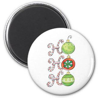 Ho Ho Ho Candy Canes and Ornaments Magnet