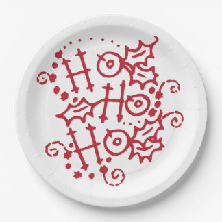 Ho Ho HO Christmas Holiday Paper Plates