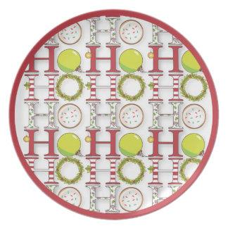 Ho Ho Ho Happy Holiday Christmas Plate
