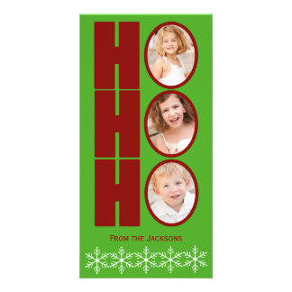 HO HO HO Photo Holiday Card Green and Red Photo Card Template