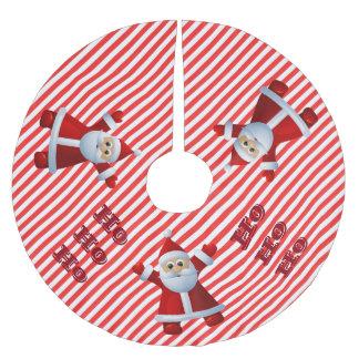 HO! HO! HO! Santa Claus Merry Christmas Candy Cane Brushed Polyester Tree Skirt