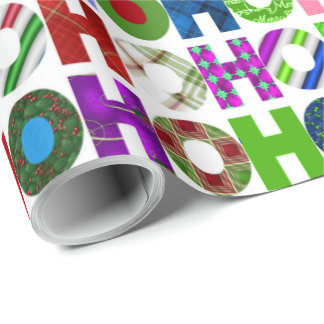 HO HO HO Typography Pattern Wrapping Paper