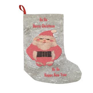 Ho Ho Santa Ivory Glitter Small Christmas Stocking