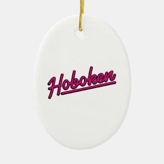Hoboken in magenta christmas ornament