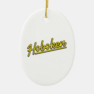 Hoboken in yellow christmas ornament