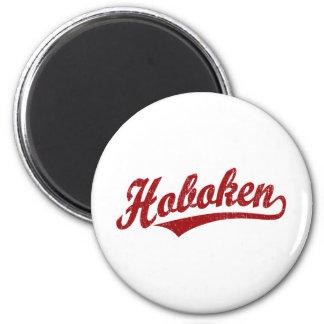 Hoboken script logo in red distressed magnet