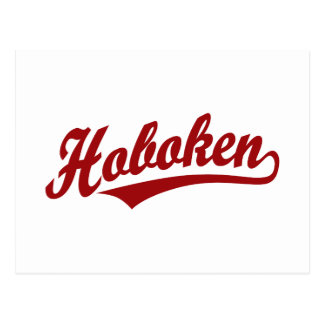 Hoboken script logo in red postcard