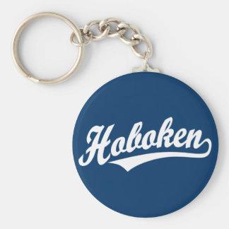 Hoboken script logo in white key ring