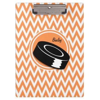 Hockey; Orange and White Chevron Clipboard