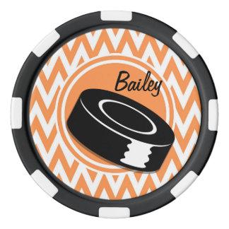 Hockey; Orange and White Chevron Poker Chips