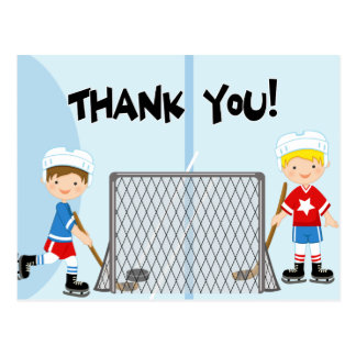 Hockey Party Sports Birthday Thank You Postcard