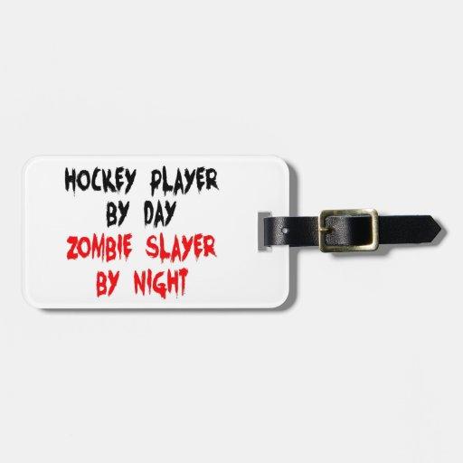 Hockey Player Zombie Slayer Luggage Tags