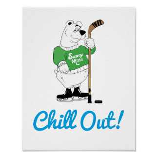 Hockey Polar Bear Poster