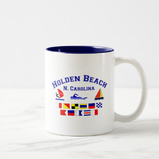 Holden Beach Nc Signal Flags Two-Tone Coffee Mug