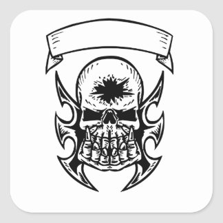 Hole In Head Skull Square Stickers