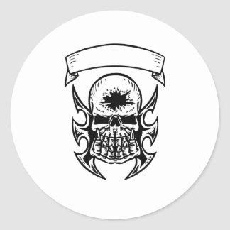 Hole In Head Skull Round Stickers