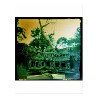 holga photo of  ta prohm in cambodia postcard