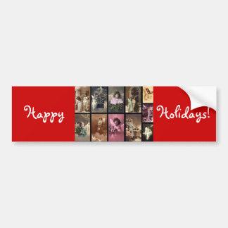 Holiday Angels Red Bumper Sticker  - Customizable Car Bumper Sticker