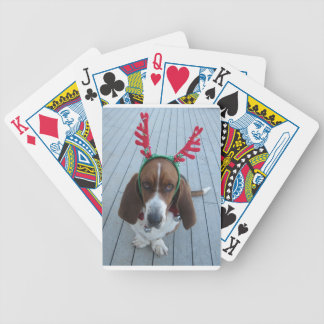 Holiday Basset Hound Reindeer Playing Cards