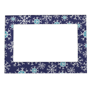 Holiday Blue Snowflakes Pattern Picture Frame Magnet