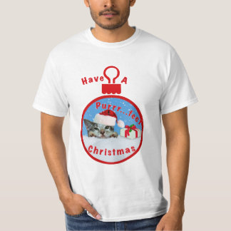 Holiday Cat in Santa Hat T-Shirt