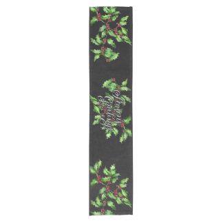 Holiday Chalk Green Holly Branch Seasons Greetings Short Table Runner
