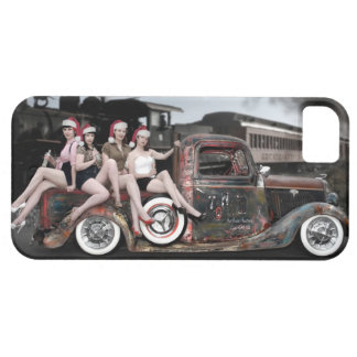 Holiday Cheers Rat Rod Santa Pin Up Girls iPhone 5 Covers