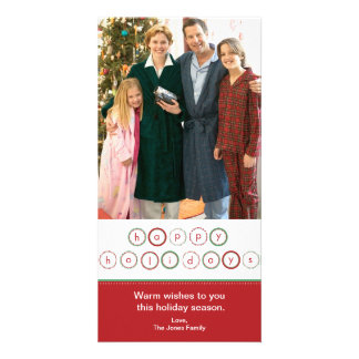 Holiday Circle Banner - Red & Green Personalised Photo Card
