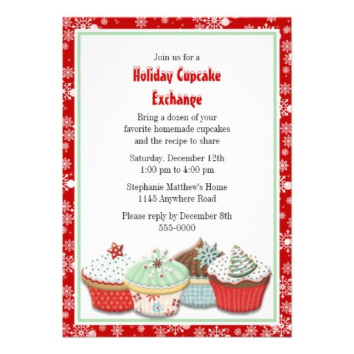 Holiday Cupcake Exchange Invitation