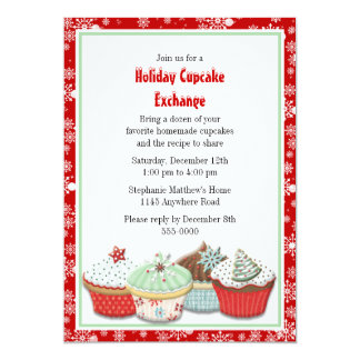 Holiday Cupcake Exchange 13 Cm X 18 Cm Invitation Card