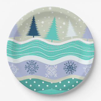 Holiday Fir Trees Snowflakes Snow Christmas 9 Inch Paper Plate
