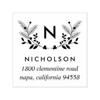 Holiday Foliage Monogram Return Address Self-inking Stamp