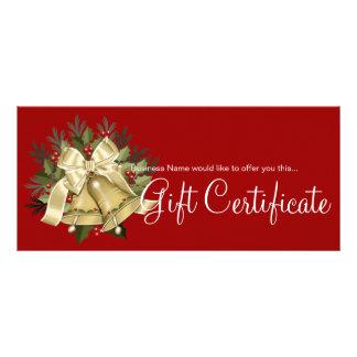 Holiday Gift Certificate Tan Christmas Bells 10 Cm X 23 Cm Rack Card