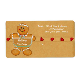Holiday Gingerbread Shipping Label