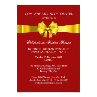 Holiday Gold Ribbon Illustration Corporate Party 13 Cm X 18 Cm Invitation Card