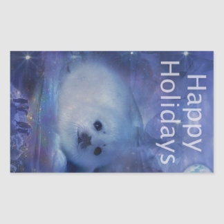Holiday Greetings - Season's Greetings - And Peace Rectangular Sticker