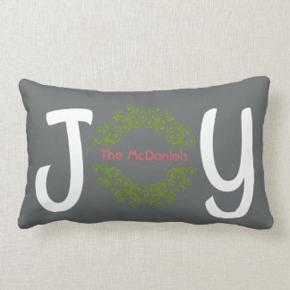 Holiday JOY, personalized with your name (gray) Lumbar Cushion