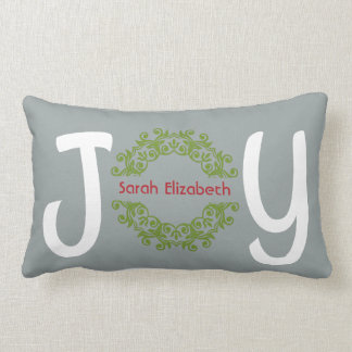 Holiday JOY, personalized with your name (lt gray) Lumbar Cushion