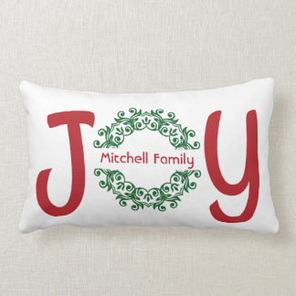 Holiday JOY, personalized with your name Lumbar Cushion