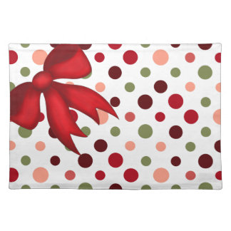 Holiday Mats, Polka Dots on White w Red Xmas Bow Placemat