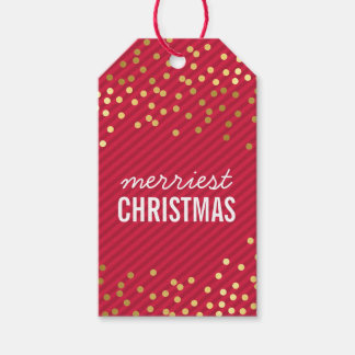 HOLIDAY PACKAGING TAG gold spots red stripe kraft