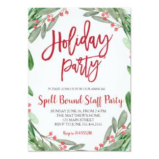 Holiday Party Greenery Wreath Invitation