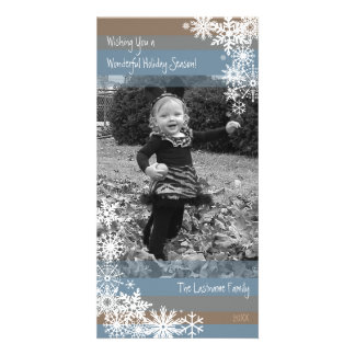 Holiday Photo Card: Let It Snow! Beige Blue Card