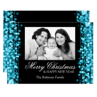 Holiday Photo Card Party Sparkles Turquoise