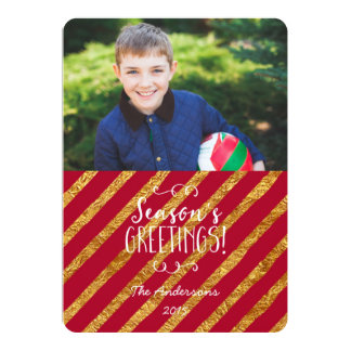 Holiday Photo Card Red and Gold Season's Greetings 13 Cm X 18 Cm Invitation Card