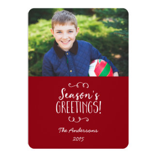Holiday Photo Card Red Season's Greetings 13 Cm X 18 Cm Invitation Card