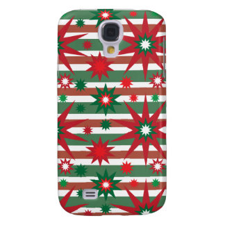 Holiday Red Green Stars Snowflakes Striped Pattern Galaxy S4 Case