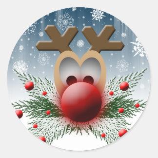 Holiday Reindeer Christmas Card Envelope Seals Round Sticker
